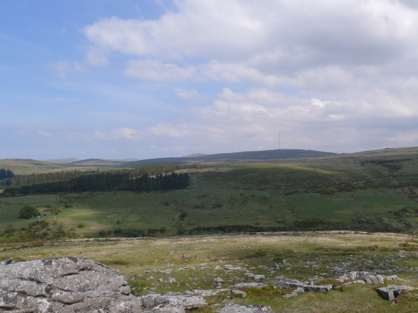 North Hessary Tor and the mast from Down Tor