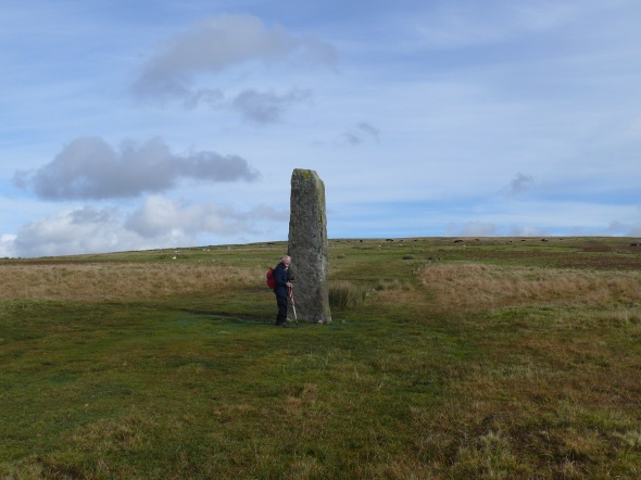 Drizzlecombe with the tallest standing stone on Dartmoor at around 4.5m
