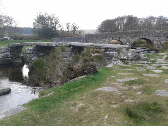 Postbridge clapper bridge at the start of the walk