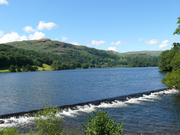 Grasmere weir with Silver How behind