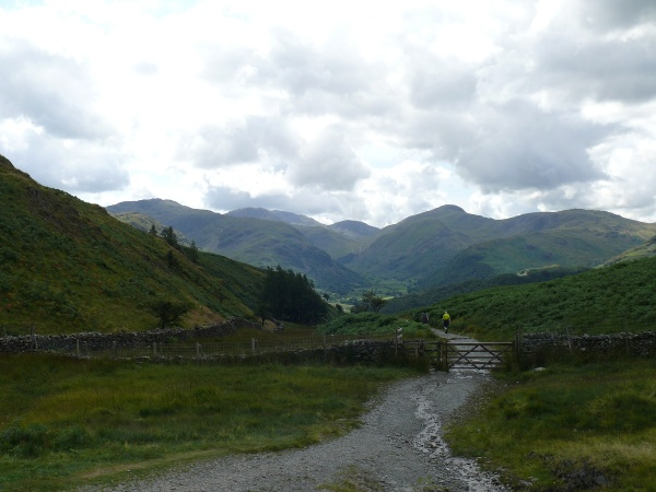 Puddingstone Bank looking down the path to Rosthwaite with Borrowdale beyond
