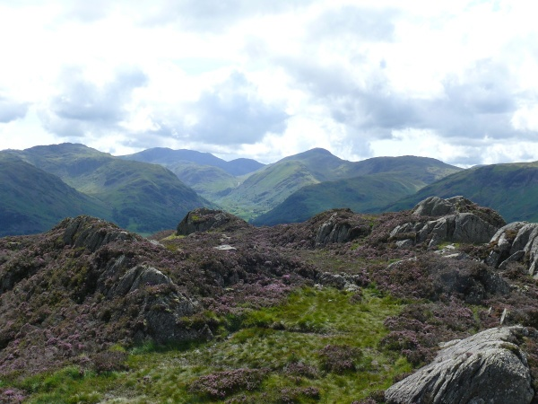The lumpy summit of Grange Fell, Great Gable the high point right with the Scafells in shadow at the back