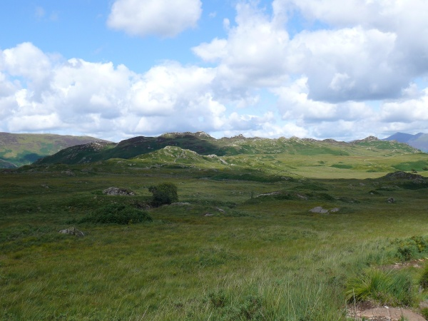 Over the boggy ground to Grange Fell