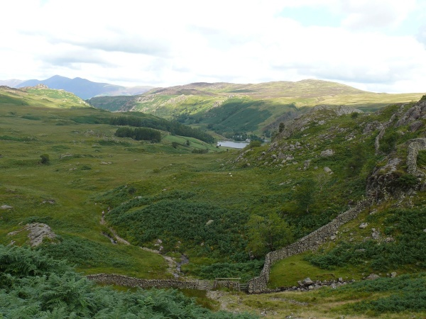 Looking back down the path with Watendlath Tarn in the distance