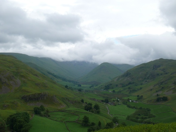 Higher up view of Martindale, with cloud rolling onto The Nab