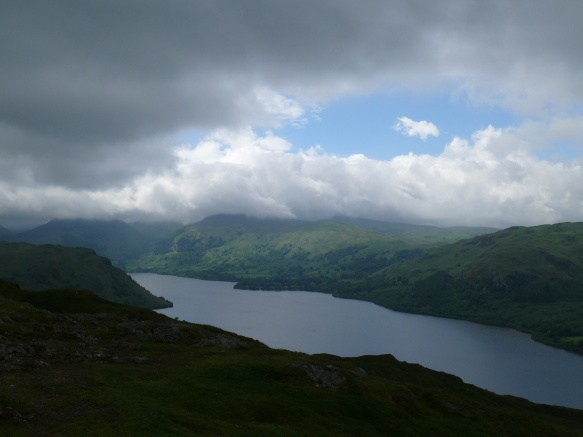 Looking towards a cloud covered Eastern Fells from Hallin Fell summit