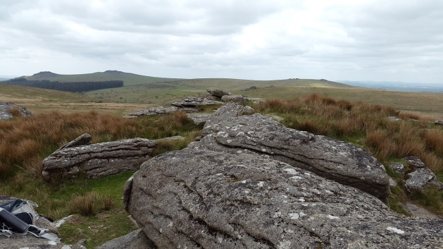 Left to right, Leather Tor, Sharpitor, Black Tor (middle distance) and Leeden Tor behind taken from Hart Tor