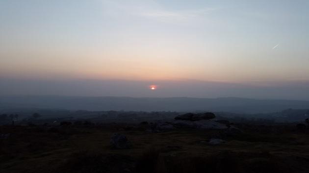 Hawks Tor summit rocks and the sunset