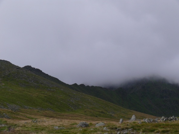 Low cloud hanging above Striding Edge