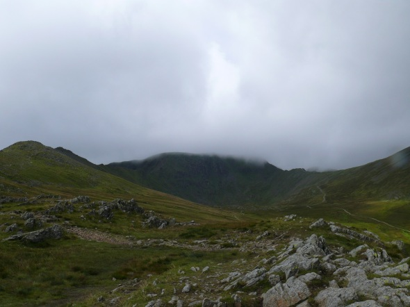 Helvellyn summit withthe low cloud clearing for a minute