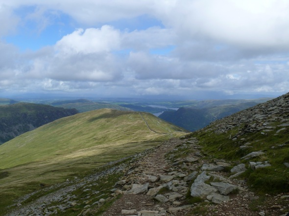 Looking back to Birkhouse Moor and the Hole in the Wall from the path up to Striding Edge