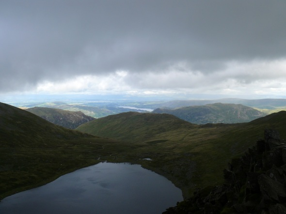 From the far end of Striding Edge looking back across Red Tarn to Birkhouse Moor and a section of Ullswater