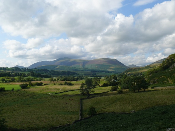 Skiddaw with its head in the clouds from the start of the walk