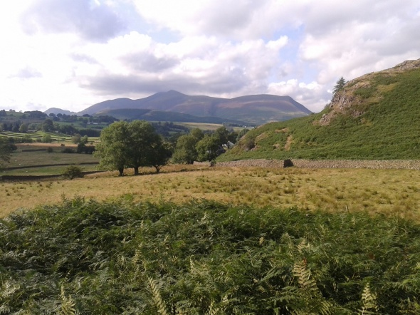 As we follow the wall round the views to Skiddaw are ever-present