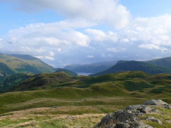 The view along High Rigg from the summit with Thirlmere centre
