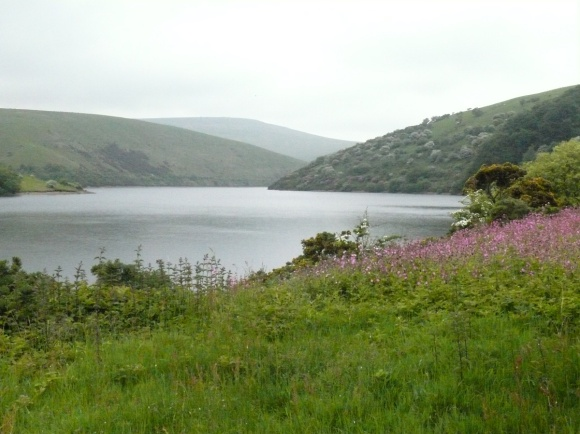 Hazy looking Meldon Reservoir at the start of the walk