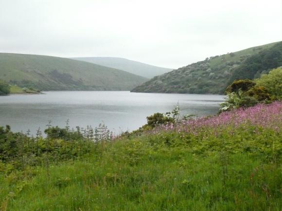 Hazy looking Meldon Reservoir at the start of the walk
