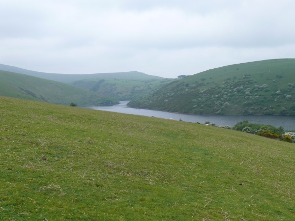Starting the climb up Longstone Hill looking along Meldon Reservoir