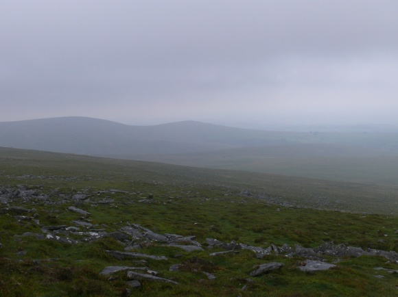 Murky view to the Corn Ridge left and Sourton Tor