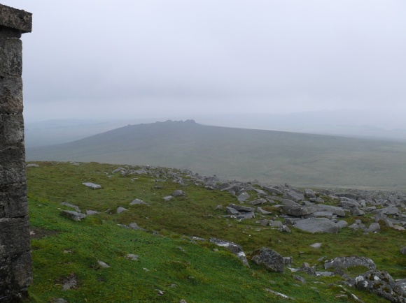 Clouds parted briefly to give a view down to West Mill Tor