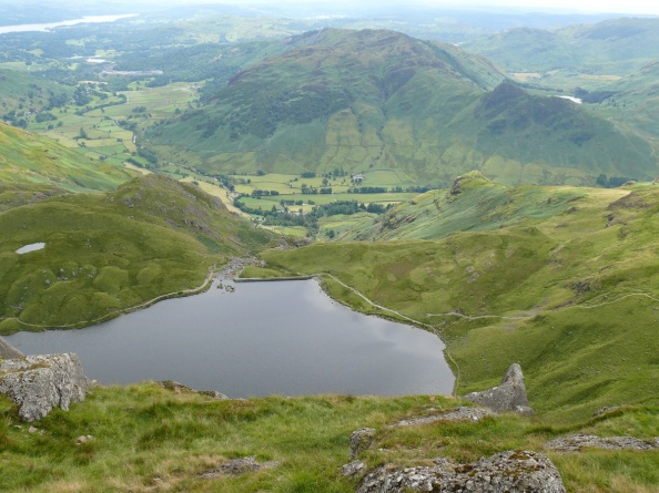 Looking down on Stickle Tarn from Pavey Ark