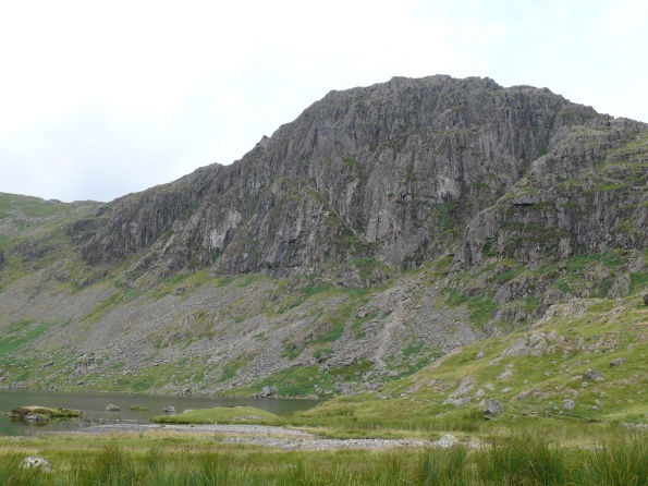 Pavey Ark over Stickle Tarn. Jack's Rake running diagonally up right to left