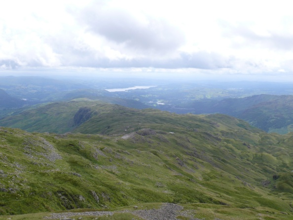 From Sergeant Man summit looking along Blea Rigg with Windermere in the distance