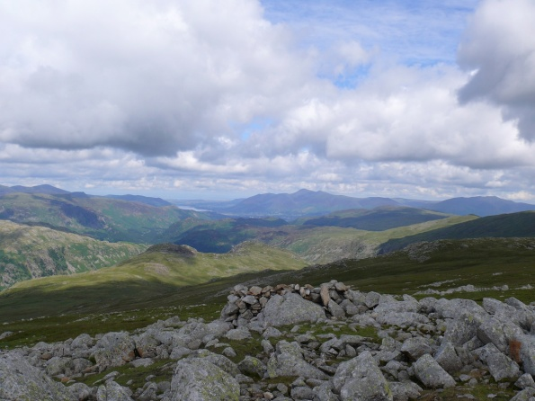 High Raise summit looking to a distant Skiddaw