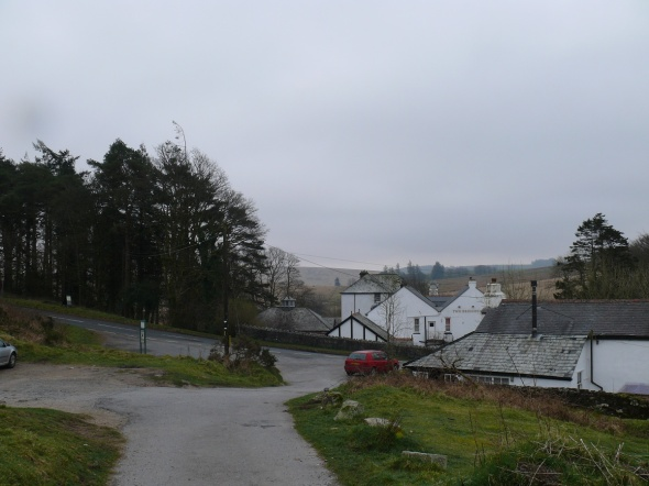 looking back at the Two Bridges hotel from the car park
