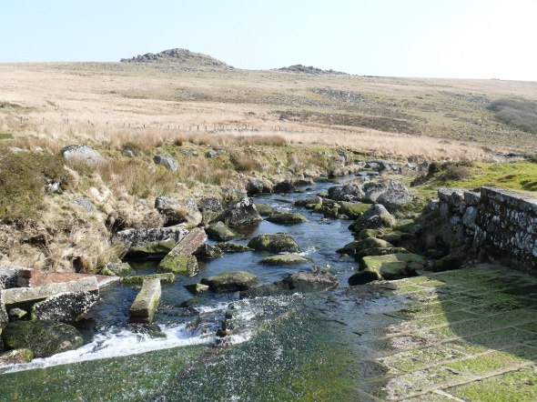 From the weir looking back up at Longaford Tor