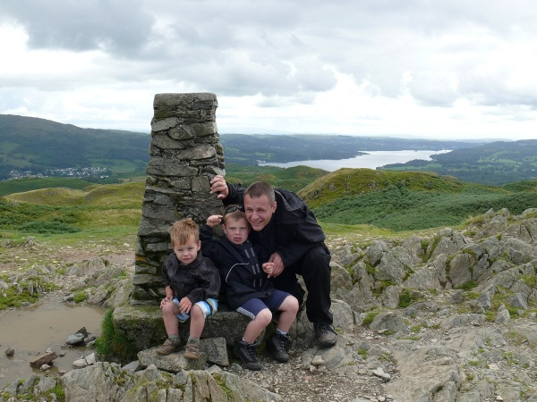 Me and the boys at Loughrigg summit, their first Wainwright!