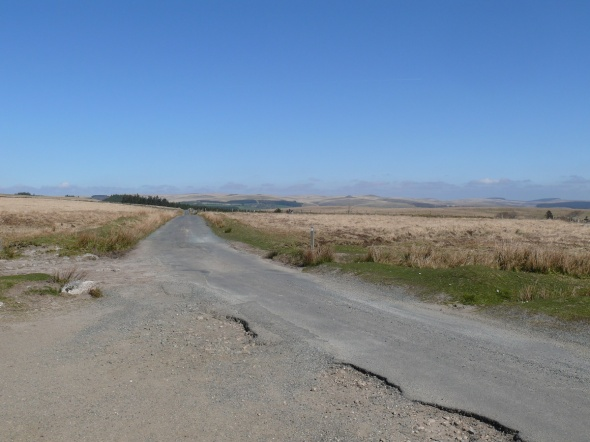 Looking back in the direction of the car, the road takes you back to Princetown.
