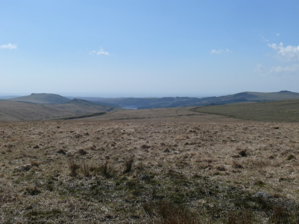 Heading back to the car with a glimpse of Burrator with Sheeps Tor to the left.