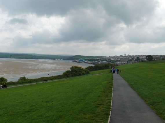 Looking back to Padstow as we head up the path to the war memorial