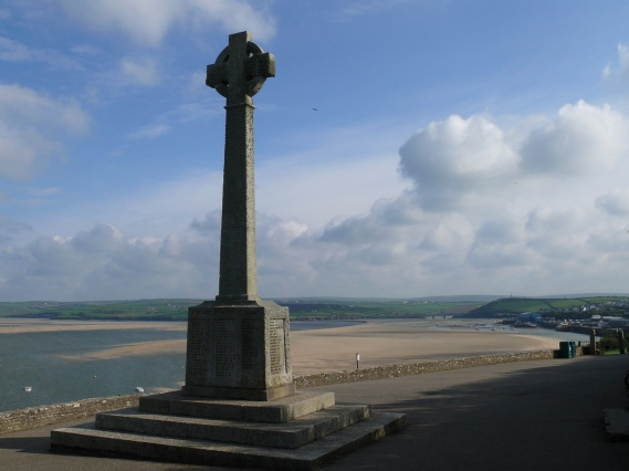 War memorial with Padstow in the distance
