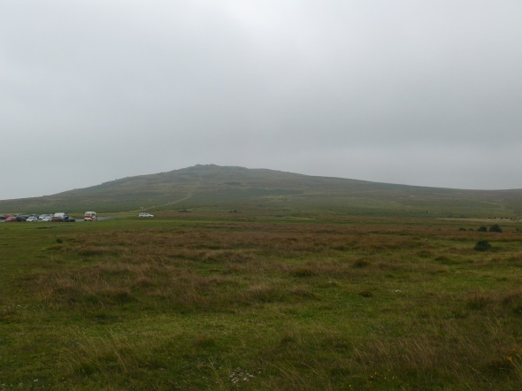 Looking back to the car park with Cox Tor behind