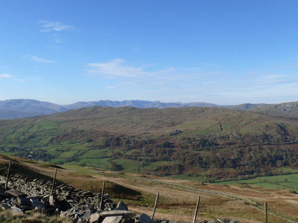Looking over Wansfell to central Lakeland and the higher mountains