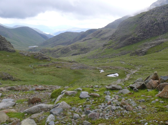 Lunch stop with a view back to Styhead Tarn from the Corridor Route.