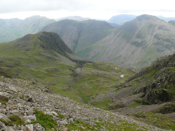 From Broad Crag the view down to Lingmell and the top of Piers Gill, with Kirk Fell behind.