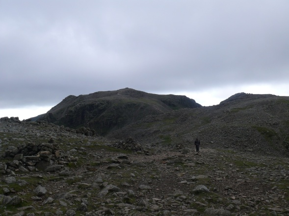 Moonscape of the boulder field. Looking back at Scafell Pike