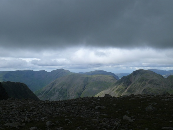 Great Gable on the right and Kirk Fell centre, with Pillar behind.