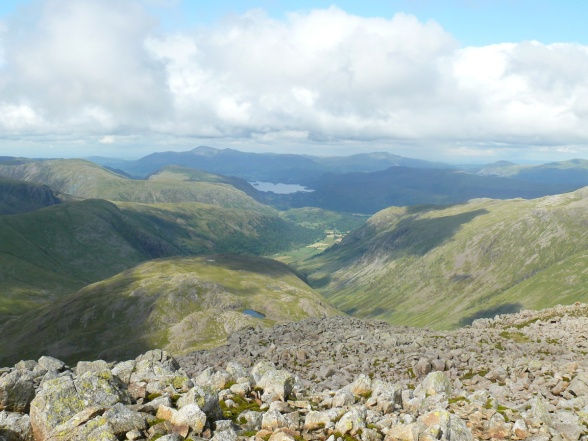 Great End summit looking down to Derwent Water and Seathwaite