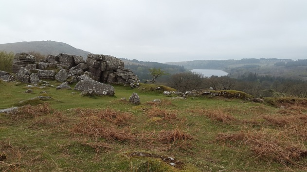 Looking to Burrator Reservoir from Snappers Tor with Sheeps Tor behind