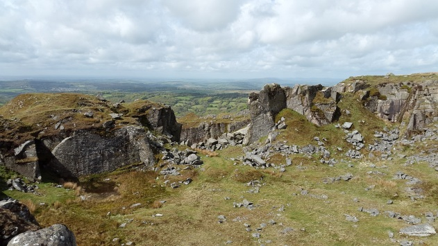 Swell Tor quarry with views to Cornwall beyond