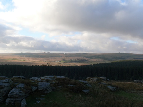 Views across to Higher White Tor on the right. With the prominant Longaford Tor centre right.