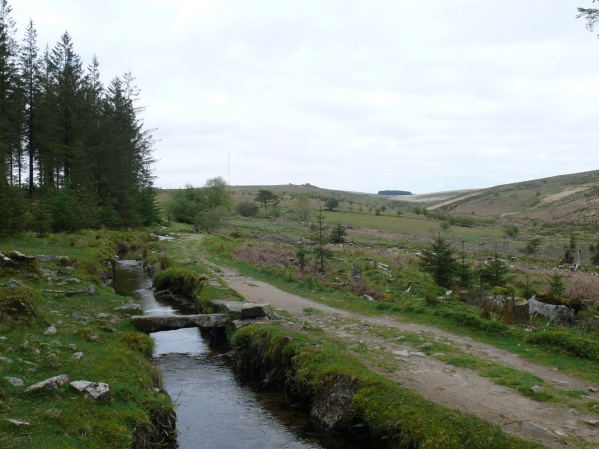 And looking along the leat to Black Tor in the centre