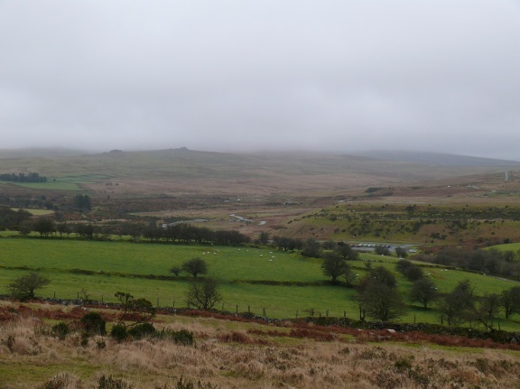 Low cloud almost down to Great Trowlesworthy Tor, still plenty of cars in the car park at Cadover despite the weather