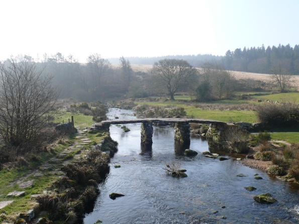 Postbridge Clapper Bridge at the start of the walk