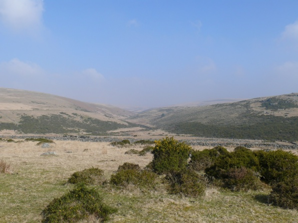 Looking along a hazy East Dart valley