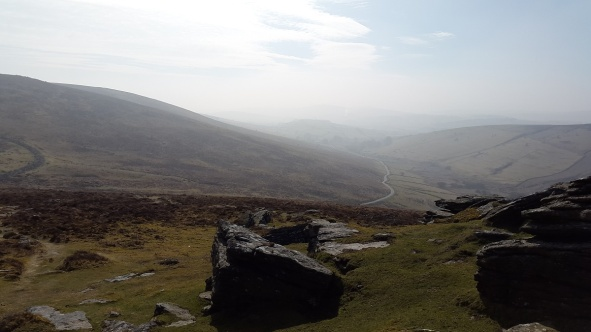 Heading up to Hookney Tor and looking along Challacombe Down